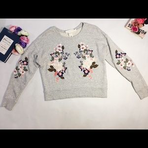 H&M gray floral embroidery sweatshirt top size XS